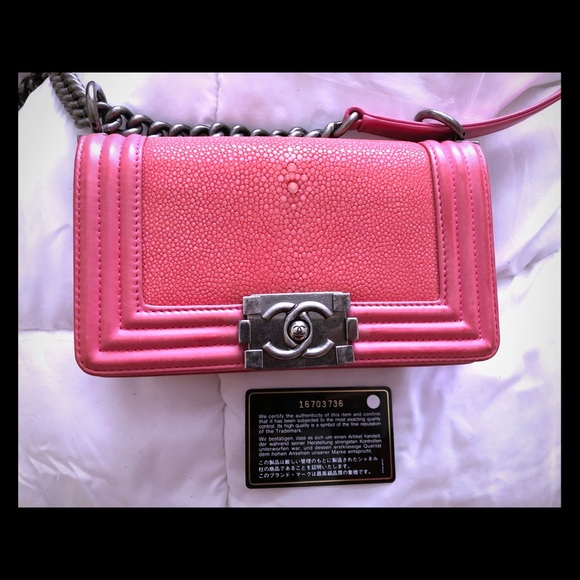 f5cd06b754c9 CHANEL Handbags - Chanel boy stingray small pink lambskin bag rare